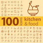 Set Of 100 Icons Of Different Types Of Cookware, Food, Fruits And Vegetables