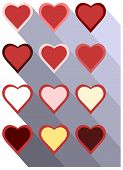 Set of hearts icons with long shadow