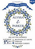 Wedding save date card with Watercolor Blueberries wreath