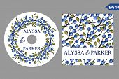 Autumn wedding CD template set.Watercolor leaves wreath