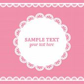 Set of lace frame doily and ribbons border in white color isolated on pink background