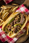 Homemade Philly Cheesesteak Sandwich