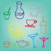 Colorful Drink & Beverage Icons Set On Blue Background