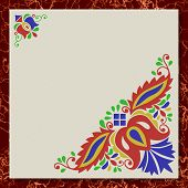 Moravian Folk Ornament Writing Paper Marble Texture Background