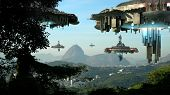 stock photo of fleet  - Alien spaceship fleet nearing the Sugarloaf mountain - JPG