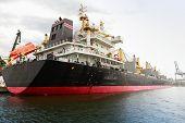 Big Industrial Cargo Ship Moored In Varna Port, Bulgaria