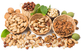 foto of pine nut  - View from above of varieties of nuts - JPG