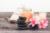 Spa Setting With Black Stones And Bath Salt