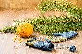 Yarn, Knitting Needles And Mittens