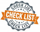 Check List Vintage Orange Seal Isolated On White