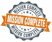 Mission Complete Vintage Orange Seal Isolated On White