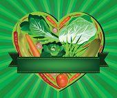 vegetables inside heart shaped banner