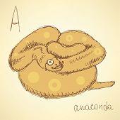 Sketch Hipster Anaconda In Vintage Style