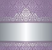 Shiny violet & silver renaissance pattern vintage invitaton background