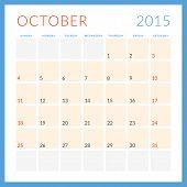 Calendar 2015 Vector Flat Design Template. October. Week Starts Sunday