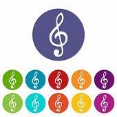 picture of clefs  - Treble clef web flat icon in different colors - JPG