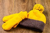 Yellow Knitting Cap And Mittens