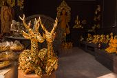 CHIANG MAI, THAILAND - DECEMBER 27: Gilded Wood Carving Deer Sculpture At Thai Wooden Sculptu