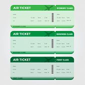 picture of boarding pass  - Three classes of blank flight boarding pass - JPG