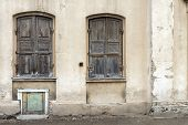 Two Windows Of The Old House In Vilnius, Shuttered