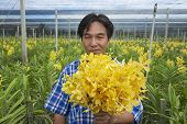 Man demonstrates flowers at the orchid farm in Samut Songkram, Thailand.