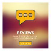 Flat Design Concept For Reviews. Vector Illustration With Blurred Background