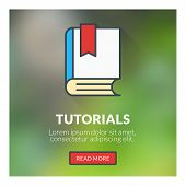 Flat Design Concept For Tutorials. Vector Illustration With Blurred Background
