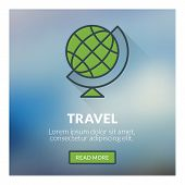Flat Design Concept For Travel. Vector Illustration With Blurred Background