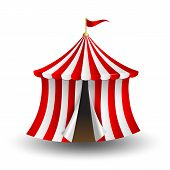 foto of funfair  - Vector illustration of open circus tent with flag - JPG
