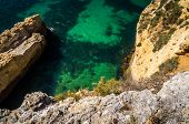 High Rocky Coastline In The Algarve