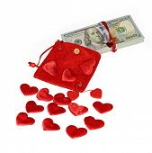 Bundle Of Dollars In Red Purse