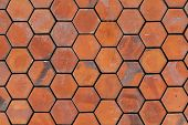 picture of octagon  - Vintage octagon red brick wall background texture - JPG