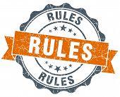 Rules Vintage Orange Seal Isolated On White