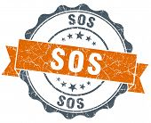 Sos Vintage Orange Seal Isolated On White