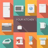 Set of kitchen appliances flat   icons