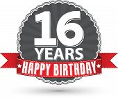 picture of 16 year old  - Happy birthday sweet 16 years retro label with red ribbon vector illustration - JPG