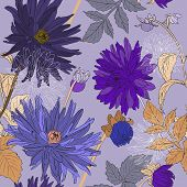 Seamless Pattern With Bouquets Of Beautiful Flowers Of Garden Asters