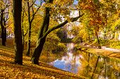 Park In The Fall And Pond In The Center Of Riga