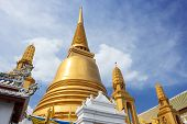 image of vihara  - View of pagoda at Wat Bowonniwet Vihara in the center of Bangkok - JPG