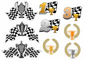 picture of trophy  - Set of motor sport and racing  icons with 1st - JPG