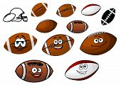 picture of football helmet  - Set of cartoon footballs and rugby balls characters in two variants with and without smiling face together with an American football helmet - JPG