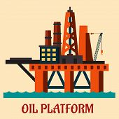 picture of oil derrick  - Cartoon  sea oil platform rising above the sea drilling for offshore oil - JPG