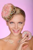 Young Woman With Creative Hairstyle From Donut