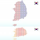 Map Of Republic Of Korea, South Korea With With Dot Pattern