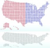Map Of United States Of America With With Dot Pattern