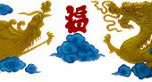 Double Chinese Dragon And Phoenix