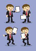 Happy Businessman Holding Placard Vector Cartoon
