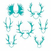 Set horns silhouettes for design