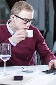 Businessman Drinking Coffee.