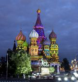 picture of illuminating  - Moscow Saint Basils cathedral at night illuminated - JPG